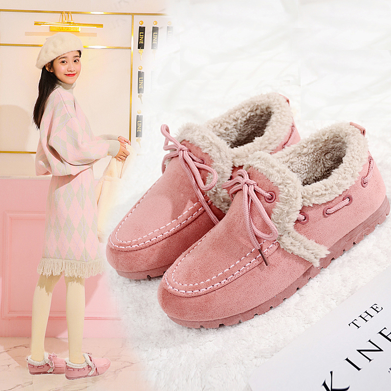 Cotton padded shoes womens winter warm Plush 2020 new Korean flat bottomed versatile student shoes with low top and one foot pedaling Doudou shoes