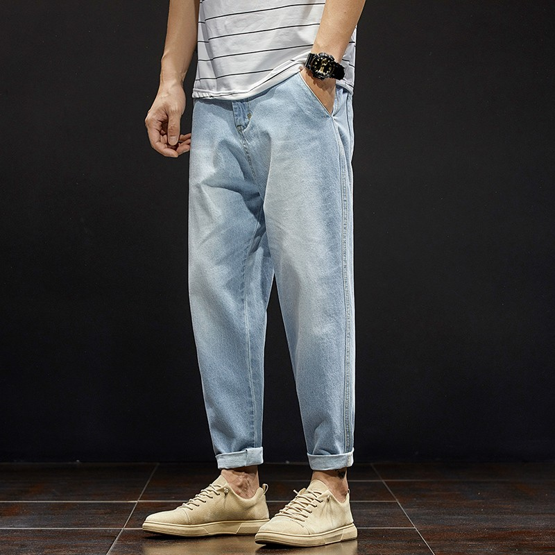 Tansomer mens jeans mens loose straight tube summer trend light color plus size washed retro tapered radish pants