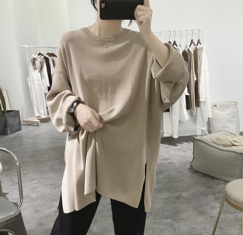 蝙蝠针织衫外套女秋季新款宽松大码显瘦韩版圆领套头开叉卷边毛衣