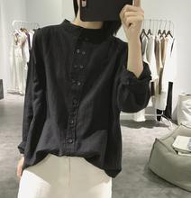 立领复古不规则纽扣上衣 宽松大码 韩版 显瘦长袖 女式 棉麻衬衫 春秋季