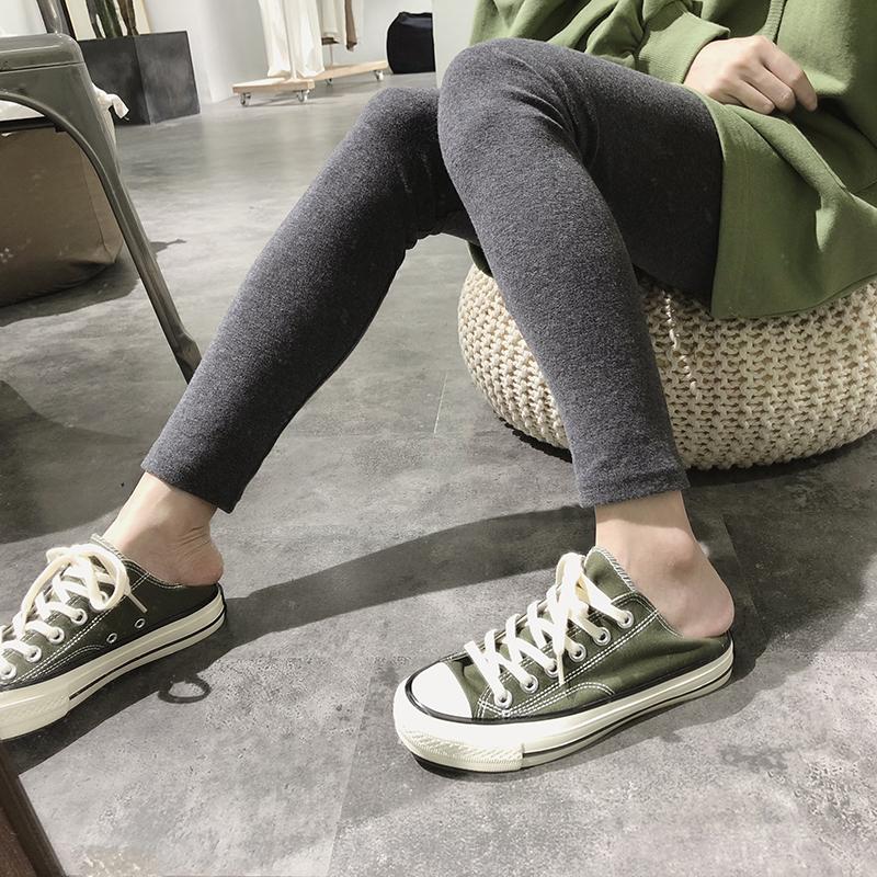 高腰女士修身弹力纯色休闲裤打底裤