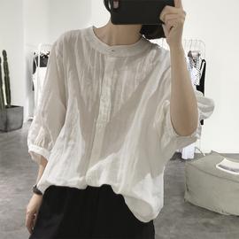 灯笼袖亚麻衬衫女式夏圆领宽松大款五分袖显瘦减龄棉麻蝙蝠娃娃衫
