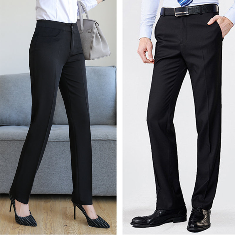 Spring and summer 2019 business dress pants mens and womens trousers micro elastic slim pants casual pants