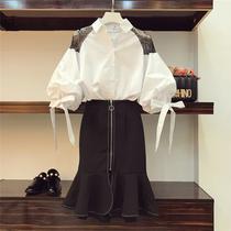 19春秋新款大码女装胖mm心机洋气套装减龄微胖女孩时髦显瘦两件套
