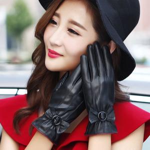 皮手套女士秋冬季开车户外骑车触屏加绒加厚防寒防风保暖韩版可爱