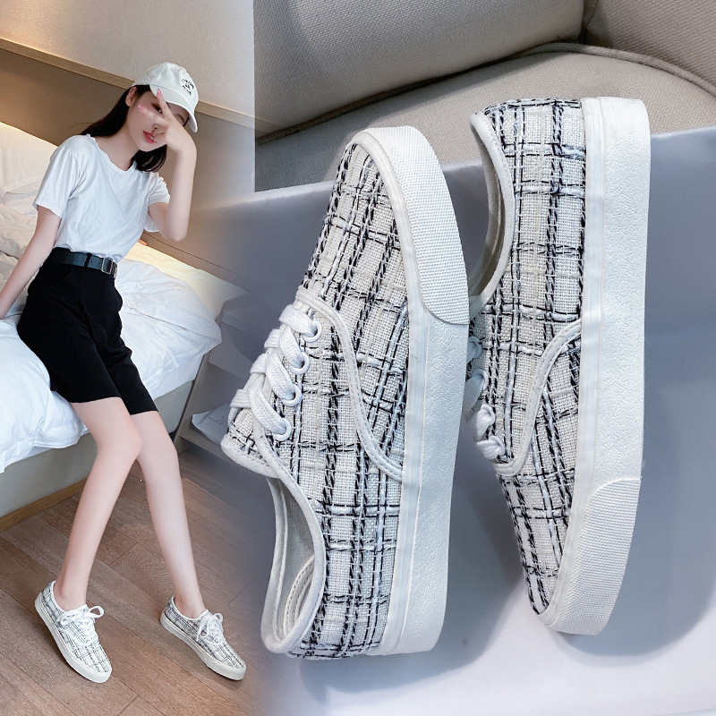 Xiaoxiang style sub canvas shoes womens New Retro net red and white shoes in summer and autumn 2020