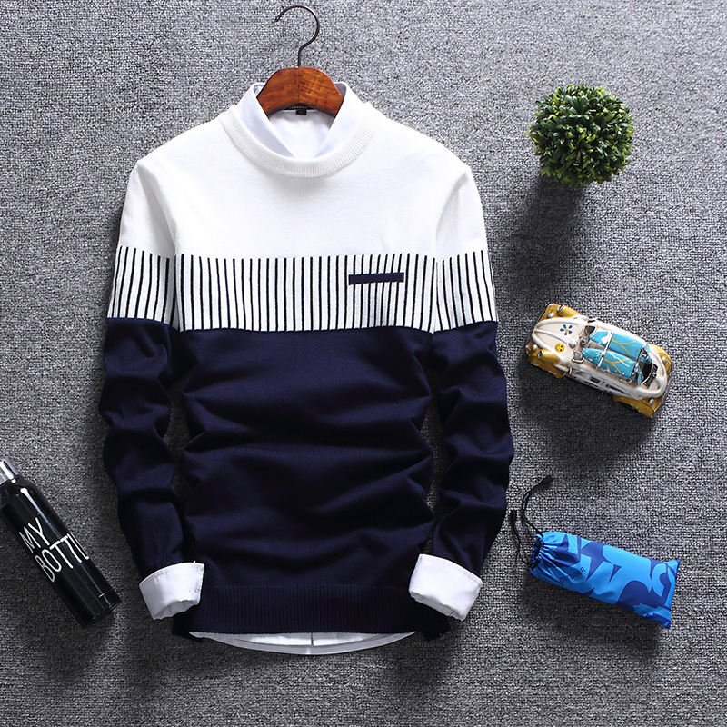 2019 new mens sweater youth foreign trade round neck mens T-shirt Korean version slim stripe sweater fashion