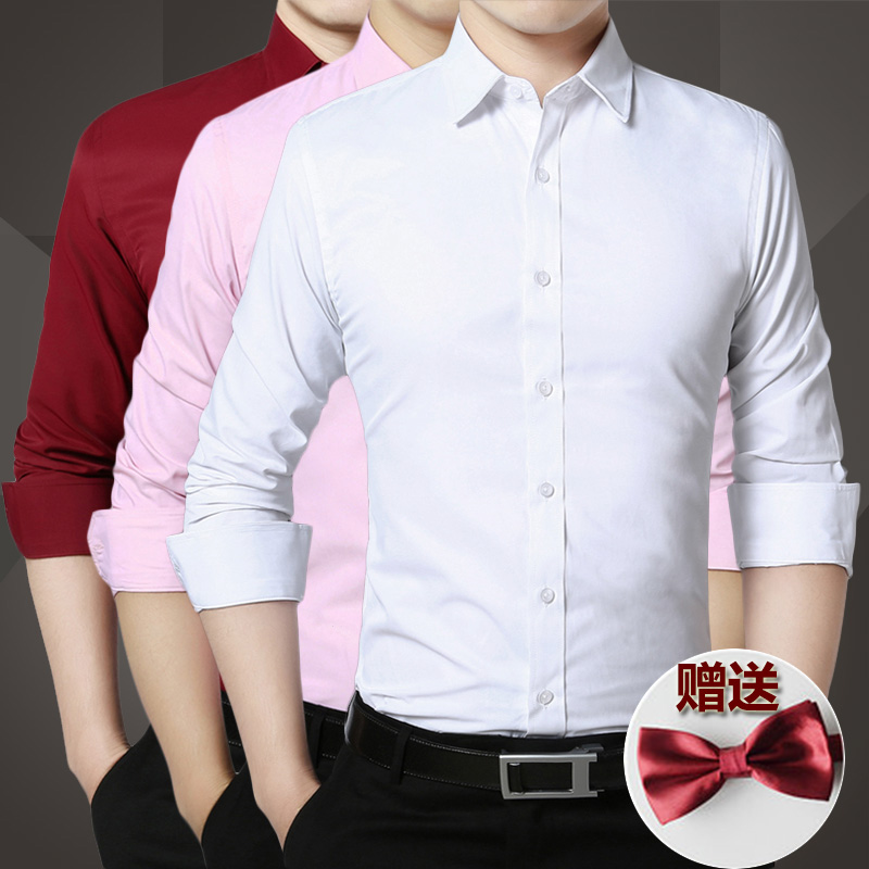 夏季兄弟团西装伴郎服衬衫长袖男粉色结婚礼服短袖新郎衬衣服白色