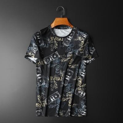 2020夏季新款冰丝棉短袖t恤男圆领印花黑色 平铺 D238 20128 P55