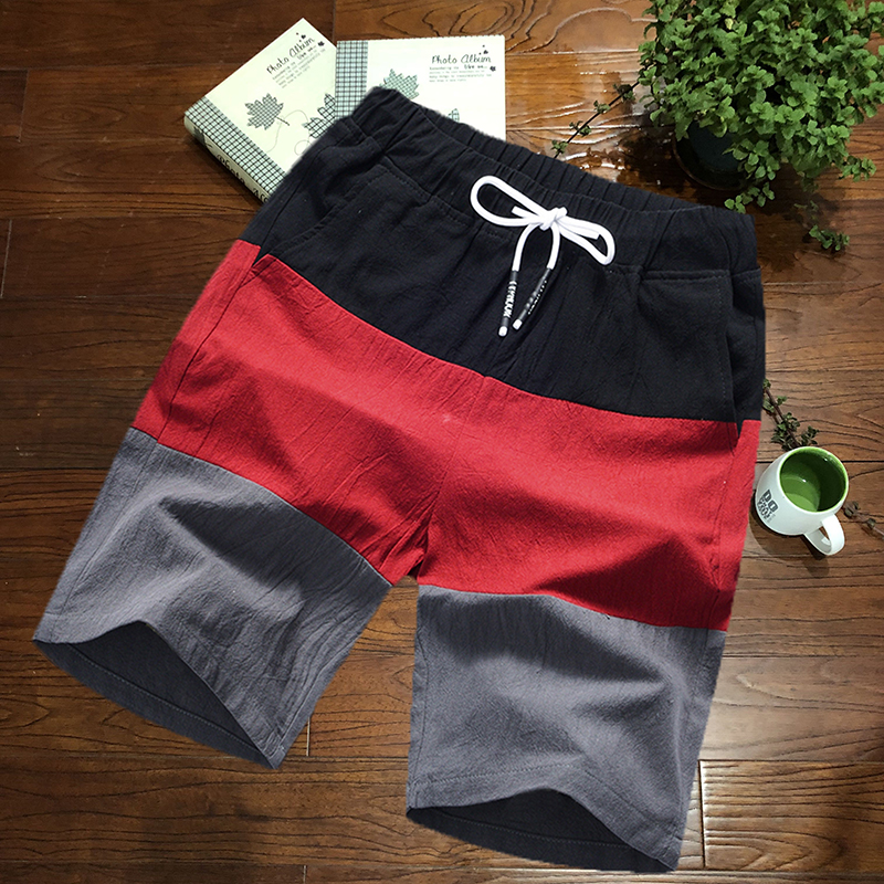 Summer Capris mens trend Korean casual beach pants loose color matching cotton oversize running shorts