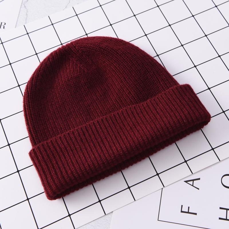秋冬纯色羊毛绒线帽子针织包头护耳帽圆顶男女通用百搭保暖街头帽