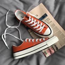 三星标情侣橘色低帮板1970s百搭ulzzang帆布鞋男女学生韩版原宿