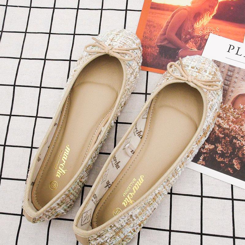marcha香港专柜芭蕾舞蝴蝶结平底鞋柔软花呢单鞋圆头浅口瓢鞋春夏