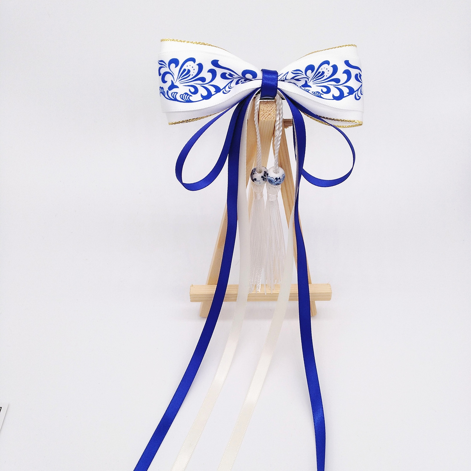 Chinese style blue and white porcelain hairpin tassel female clip bow ribbon Han suit cos accessories