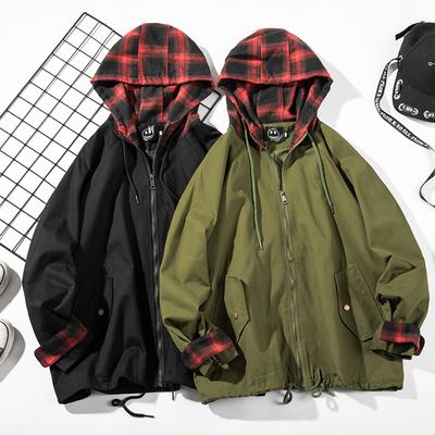 18秋季新男士港风格子连帽宽松假两件学生抽绳夹克外套JK03-P85