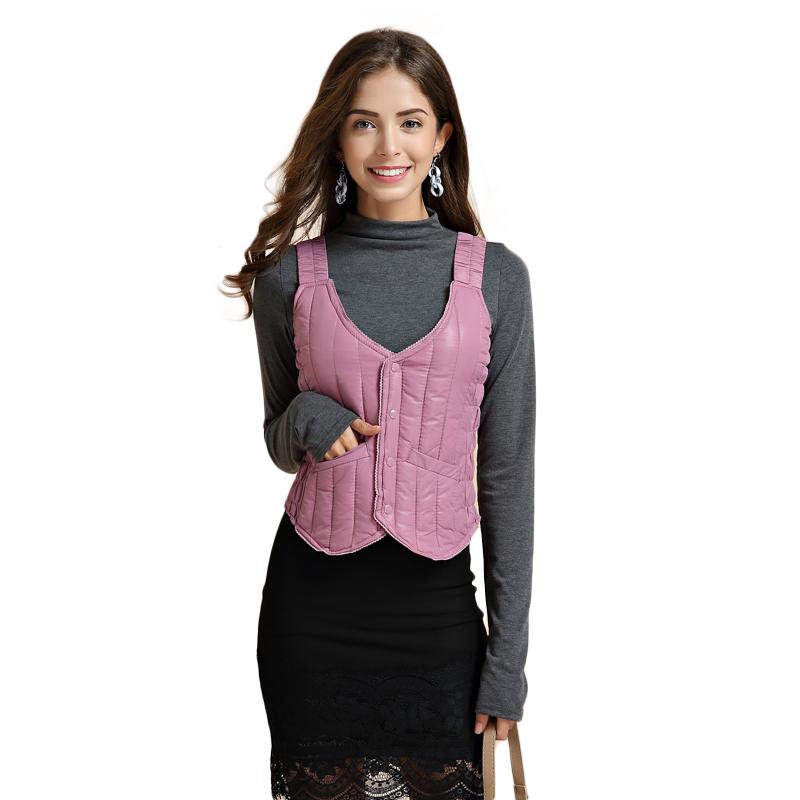 Womens suspender short down Cotton Jacket Vest womens Vest close fitting winter Vest Jacket