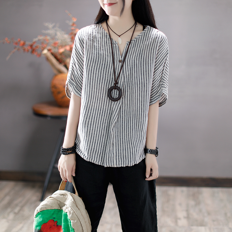 Coffee with original linen T-shirt girl summer rain V collar striped short sleeved loose cotton blouses