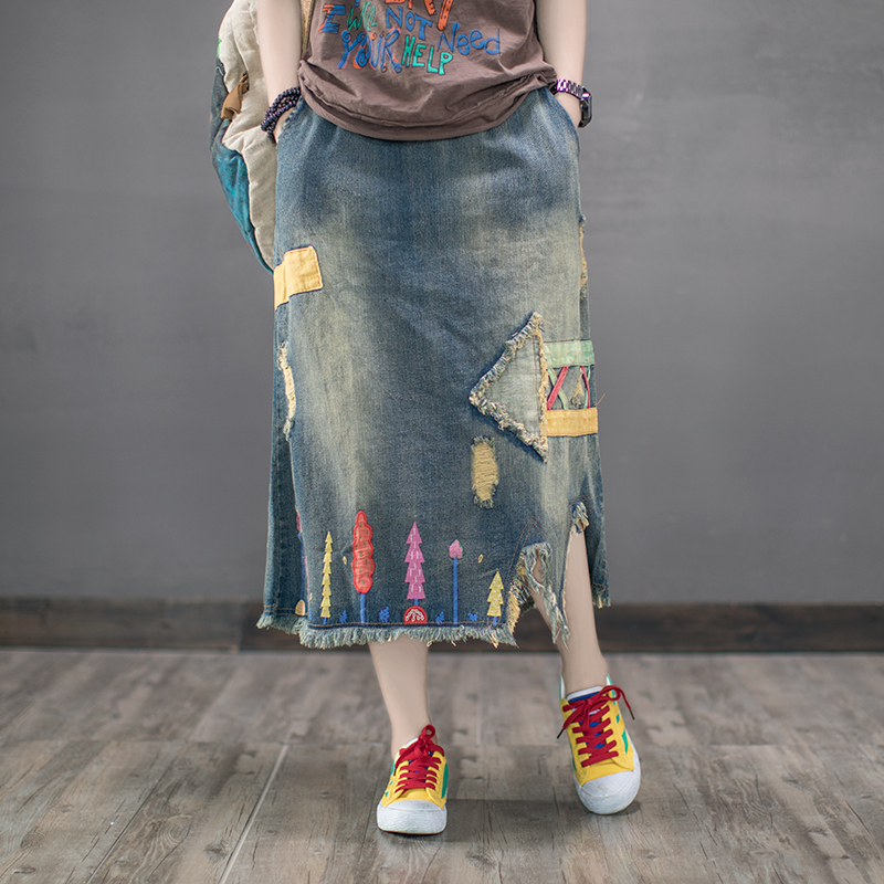 Coffee with original vintage summer rain art embroidery skirt denim skirt female elastic waist holes in cloth dress