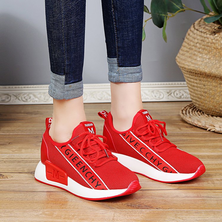 Korean red sneakers womens mesh breathable inner elevated casual shoes new student travel running shoes in spring 2018