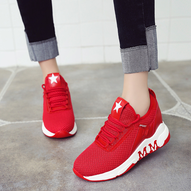 Korean red sports shoes womens mesh surface breathable inner increase casual shoes spring 2018 new student travel running shoes