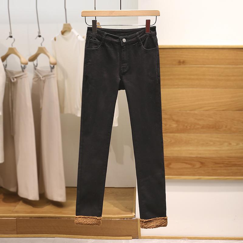 朗●薄绒显瘦牛仔裤网红爆款高腰休闲裤2019冬季新款品牌折扣女装
