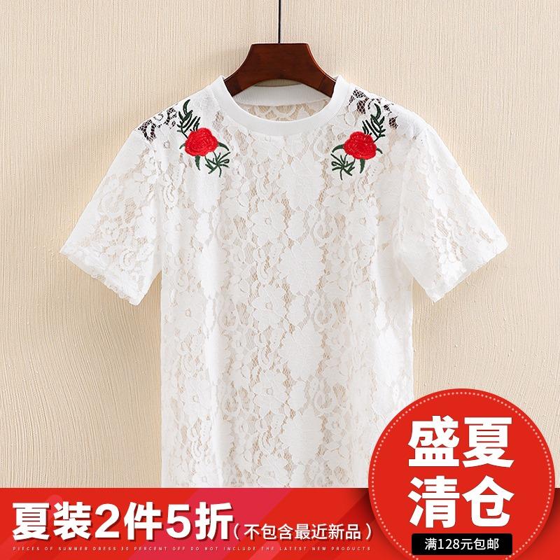 轩系列●品牌折扣女装2018夏季新款韩版刺绣超仙上衣重工蕾丝衫潮
