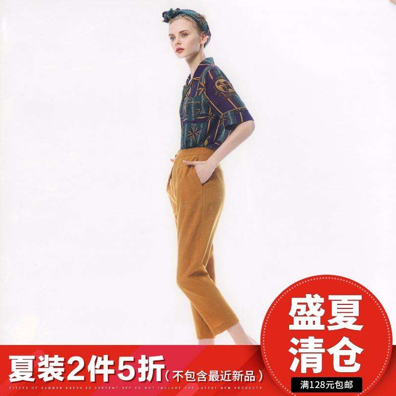 米系列●品牌折扣女装2018夏季新款韩版短袖上衣娃娃领印花雪纺衫