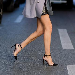 2021春夏季新款包头一字带高跟鞋女透明胶细跟女鞋尖头凉鞋气质风
