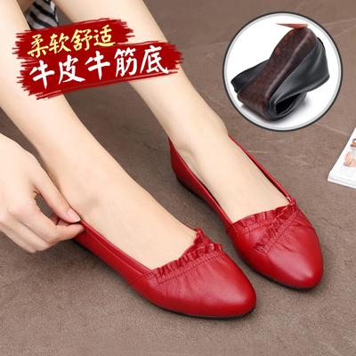 春秋真皮豆豆鞋女牛皮平底单鞋软底红色闰月妈妈鞋牛筋底女式皮鞋