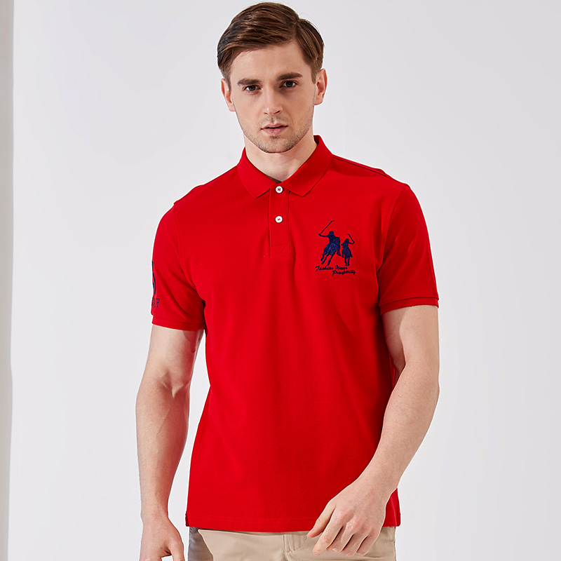 Red t-shirt mens short sleeve middle-aged mens dad loose cotton polo polo mens top