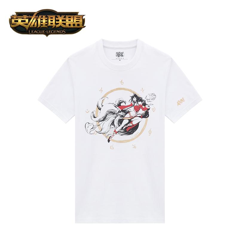 英雄联盟LOL 九尾妖狐阿狸白色T恤中性款 游戏周边官方正品
