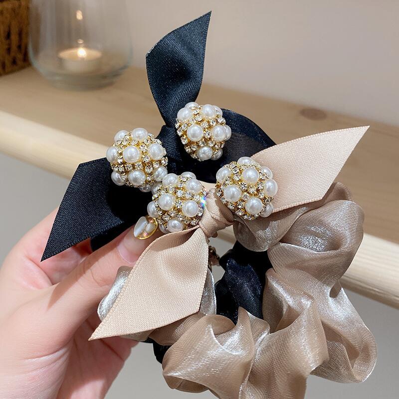 韩系气质珍珠头绳蝴蝶结皮筋女扎头发绳网纱发圈大肠圈优雅发饰品