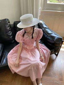 MONA白色粉色甜美连衣裙子法式长款夏季2021年新款设计感小清新