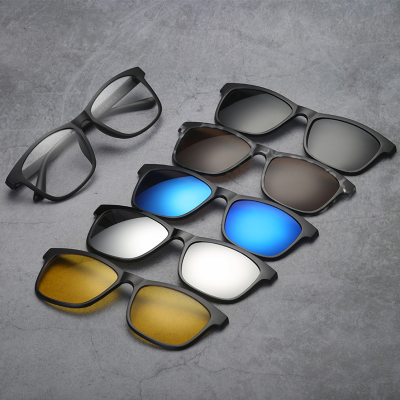 Day and night polarizing lens set, male magnetic ink absorption lens, driving sunglasses, female sunglasses, TR frame with myopia glasses