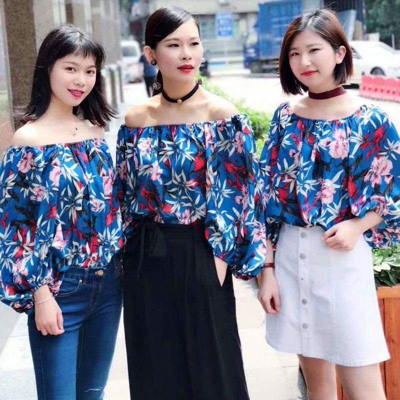 新颖哥弟特女装2018夏季新款正品国内代购韩版一字领碎花衬衫女潮