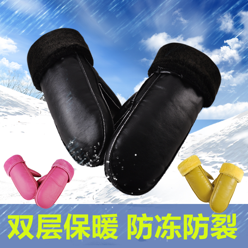 Winter mens Plush warm gloves womens winter students windproof waterproof riding cotton gloves