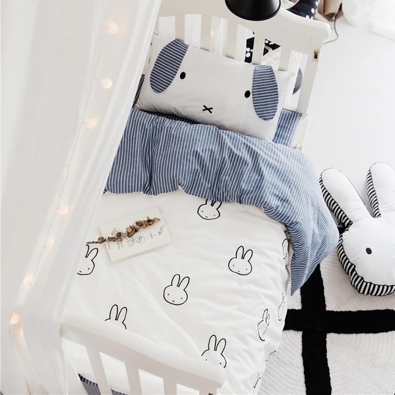 嬰童全棉床上用品床單被套多件套寶寶純棉嬰兒床套件四季款可定做