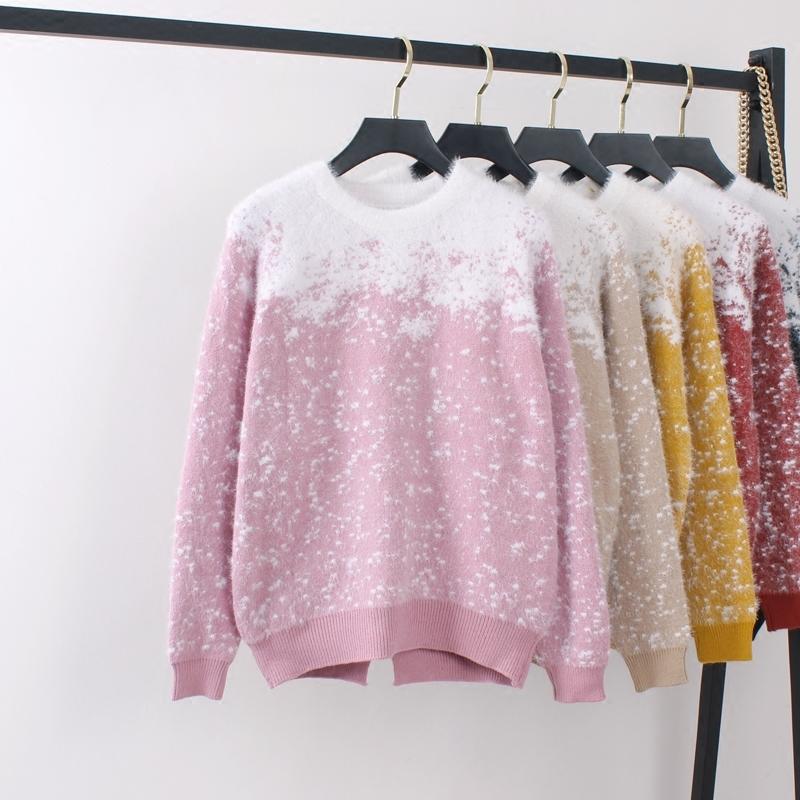 Mink like spring new lazy contrast snowflake short split sweater womens Pullover loose T-shirt bottom coat