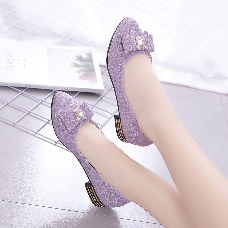 尖头单鞋女平底2020春季百搭豆豆鞋蝴蝶结鞋子女新款学生韩版女鞋