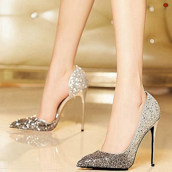 10/12cm尖头高跟鞋新娘婚鞋金银色亮片仙女水晶休闲细跟单鞋女图片