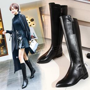 2020秋冬季新款真皮显廋女靴平底粗跟骑士靴长靴大码不过膝高筒靴
