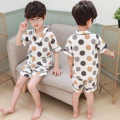 男童睡衣夏季薄款純棉男孩45歲夏款全棉兒童空調服小童家居服套裝