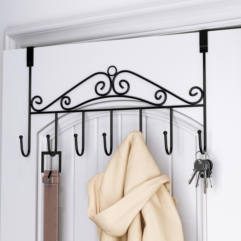 欧式门后衣帽架寝室房门收纳无痕免钉家用挂包包置物架衣服挂钩