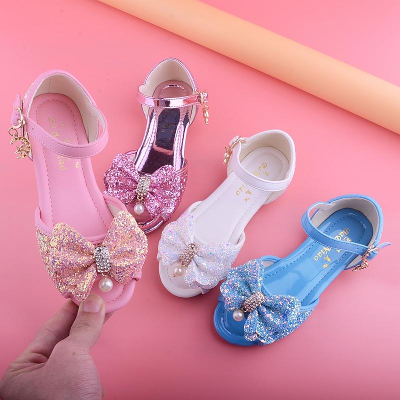 女童凉鞋2018夏季公主新款儿童凉鞋女中大童平底女孩韩版宝宝皮鞋
