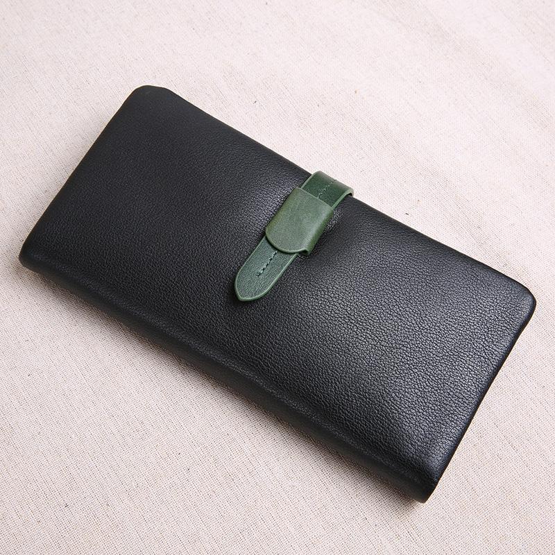限时秒杀JUUZ LAN软皮钱包女真皮长款韩版搭扣牛皮手机包多功能皮夹小清新