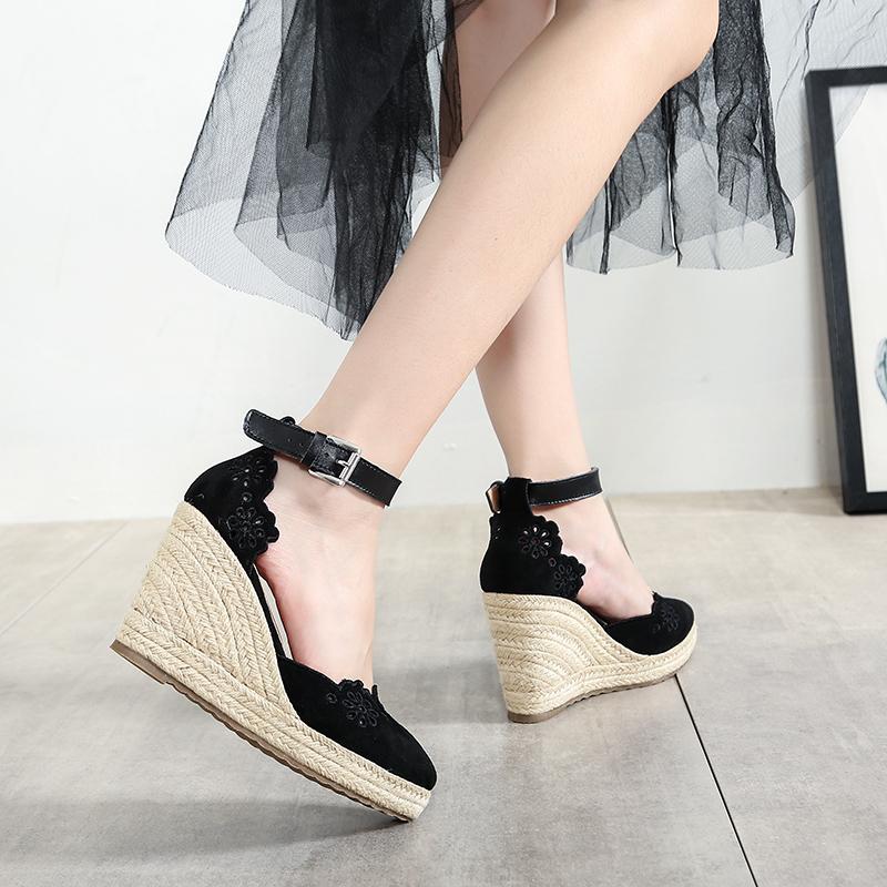 坡跟凉鞋女2021新款夏季真皮一字扣绑带超高跟草编防水台单鞋