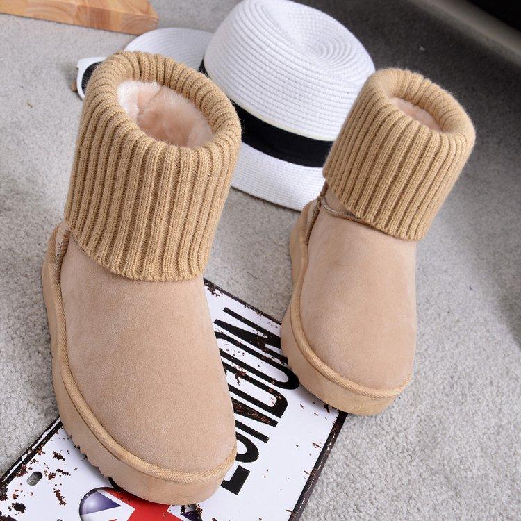秋冬季新款靴子女平底短靴毛线针织绒面加绒保暖雪地靴女短筒棉鞋