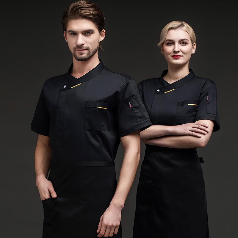 订制LOGO酒店厨师工作服夏天面点馒头短袖制服西餐网咖厨房工装服