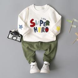 小童装男童宝宝春装0-1-2-3岁婴儿春秋卫衣套装帅气衣服韩版潮装4