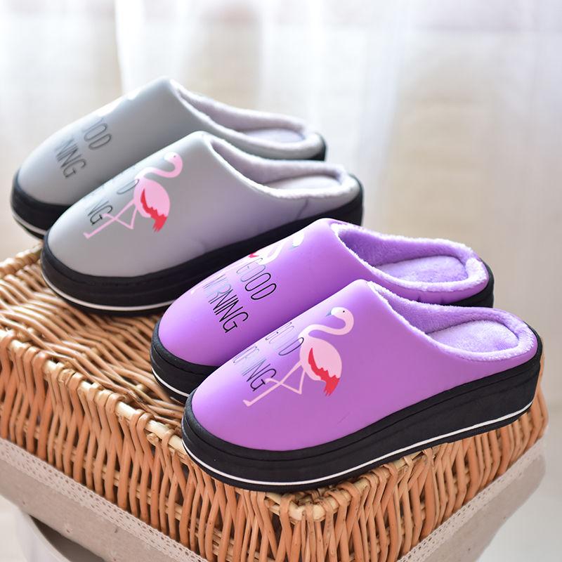 高跟厚底PU防水棉拖冬季女士拖鞋防滑室内保暖棉拖冬天棉拖鞋外穿
